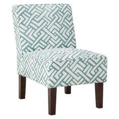 Turquoise Geo Slipper Chair