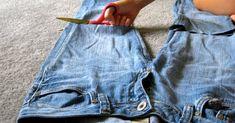 Short Thin Hair, Recycled Denim, Mom Jeans, Denim Shorts, Pants, Ideas Geniales, Fez, Relleno, Repurpose