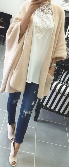 #ending #summer #outfits |  Nude Cape + White Top + Denim