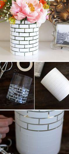 DIY White Brick Vase.