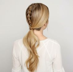 Low ponytail with middle top braid by Missy