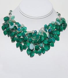Emerald Green Statement Necklace Beaded by CherylParrottJewelry, $274.95