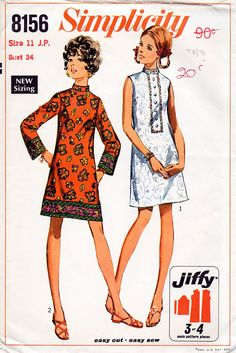 a24c4f0fc13 1960s A-Line Mini Dress Pattern Simplicity 8156 Vintage Sewing Pattern  Short Mod Dress with Standing Collar Bust 34 Junior Petites FF Unused