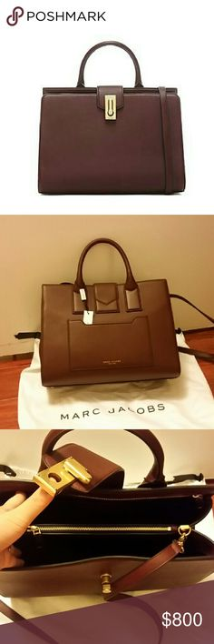 NWT Marc Jacobs large tote bag Marc Jacobs West End Leather Large Top Handle Tote Bag, still sold at Neiman Marcus at regular price. Brand new, it's a beautiful color called rubino (like a deep plum that almost looks reddish brown depending on lighting), luxurious geniune leather, and with detachable straps. Has a little pocket on the back side, gold buckle on the front. New with tag and dustbag. Marc Jacobs Bags Totes