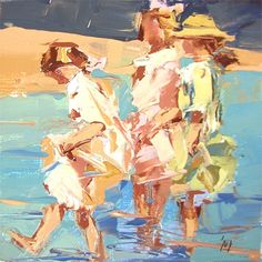 """""""Children+on+the+Beach+2""""+after+Edward+Henry+Potthast,+painting+by+artist+Sally+Cummings+Shisler"""
