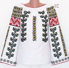 IA the Romanian Blouse. Here you can buy Romanian peasant blouses ie and folk costumes traditional clothes. Worldwide shipping for embroidered Romanian blouse Folk Embroidery, Indian Embroidery, Embroidery Stitches, Embroidery Designs, Handbags Online Shopping, Patiala Salwar, Folk Costume, Peasant Blouse, Blouse Online
