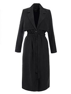 Amber Orchid Womens Oversized Maxi Length Duster Coat Belted Jacket Black 8 * For more information, visit image link. (This is an affiliate link)