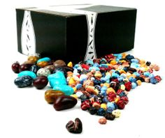 8oz Chocolate River Rocks and 4oz Jelly Dinosaur Eggs in a Gift Box