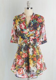 Back Road Ramble Cotton Tunic in Rose Garden - Multi, Floral, Casual, Variation, V Neck, Multi, Work, Tab Sleeve, Short Sleeves, Cotton, Top Rated, Long