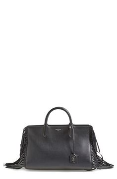 Saint Laurent 'Small Rive Gauche' Fringe Leather Satchel available at #Nordstrom