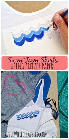 Will your summer involve lugging swim bags to the pool or being the swim meet chauffeur? Easily make a cute tank to wear poolside as you cheer on your swimmers using freezer paper and fabric paint. Downloadable free stencils included / via DazzleWhileFrazzled blog