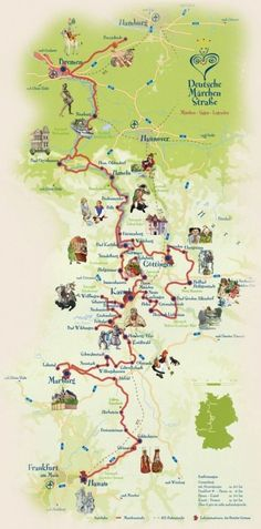 Fairy Tale Road Grimm Brothers Fairytales Route Map - seriously considering for next year's summer holiday in the Hymer.Grimm Brothers Fairytales Route Map - seriously considering for next year's summer holiday in the Hymer. German Fairy Tales, Fairy Tales For Kids, Brothers Grimm Fairy Tales, Romantic Road, Germany Travel, Dream Vacations, Travel Destinations, Places To Go, Road Trip