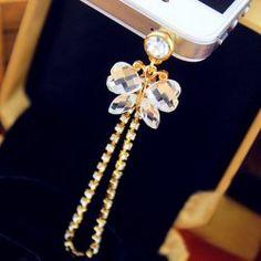 $3.05 Fashion Simple Style Rhinestone Embellished Butterfly Shape Cellphone Dustproof Plug