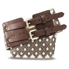 Women's Diamond Print Cinch Belt with Double Buckle Clasp - Brown