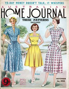 1950 AUSTRALIAN HOME JOURNAL Dress Patterns,Fashion,Childs Frock,Dressmaking