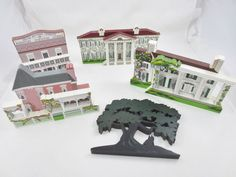 "LOT GWTW ""GONE WITH THE WIND"" SHELIA Wooden Village Houes Mansions Trees 1990's"