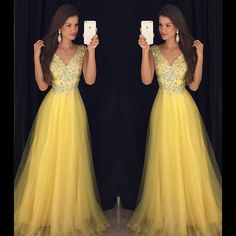 New Arrival Prom Dress,Modest Prom Dress,Deep V Neck Long Yellow Prom Dresses 2017 Cap Sleeves Evening Gowns