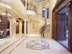 Mansion Interior, Pompano Beach, Marble Floor, Staircase Design, Foyer Staircase, Dream House Plans, Elegant Homes, Architecture, Decoration