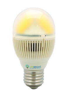 Our New 5 Watt mini....with high color rendition (uses yellow phosphor boot technology over the LED's) uses 80% less electricity than incandescent in a small package. Equivalent to a 40W incandescent.  Lights white. Available in warm white, cool white and daylight.  A LED revolution!