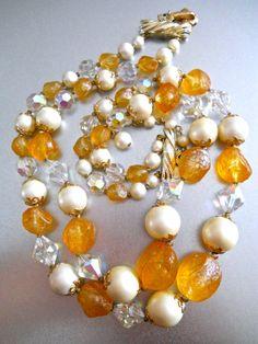 VENDOME Necklace Orange Citrine Double Strand by RenaissanceFair