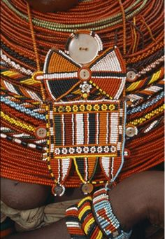 Africa | Details of the jewellery worn by a Samburu woman. Kenya
