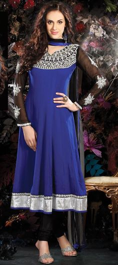 $137.08 Blue Faux Georgette Thread Work Anarkali Salwar Kameez 26415