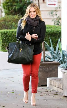 Hilary Duff goes for a bold pop of color in Beverly Hills with bright red skinnies.http://www.eonline.com/photos/6415/celebrity-street-style/237447