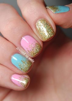 Easy glitter gradient nail art with Floss Gloss Stun, Perf, and Wavepool