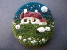 Hand Made Needle Felted Brooch/Gift Snowdrop Cottage by Tracey Dunn
