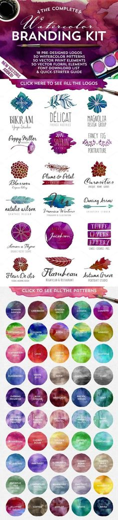 Introducing the Complete Watercolor Branding Kit! It has everything you need to design a totally awesome, vector watercolor logo. Discover all the amazing design goods off only on Creative Market. Design Logo, Web Design, Typography Design, Design Art, Branding Design, Corporate Design, Watercolor Branding, Watercolour Palette, Inspiration Logo Design