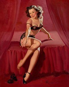 """Gil Elvgren - """"I'm Not Shy - I'm Just Retiring"""" 1948 [202]"""