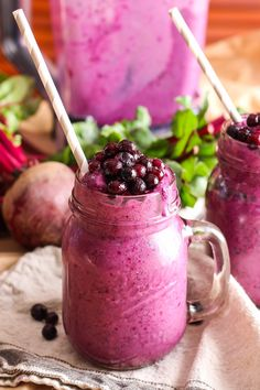 This healthy Wild Blueberry Beet Smoothie is a colorful and nutritious way to start your day with an extra serving of vegetables at breakfast! Vegetable Smoothies, Healthy Smoothies, Smoothie Recipes, Healthy Snacks, Juice Recipes, Nutribullet Recipes, Blender Recipes, Jelly Recipes, Green Smoothies