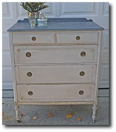Annie Sloan Paris Grey with a Graphite top and Old White accents on trim Seen on thebpmercantile blog