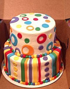 Polka dot and stripe birthday cake