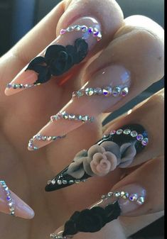Spectacular Nail Design Ideas To Try Asap - Nail designs or nail art is a very simple concept - designs or art that is used to decorate the finger or toe nails. They are used predominately to en. Fabulous Nails, Gorgeous Nails, Pretty Nails, 3d Nail Designs, Acrylic Nail Designs, Rhinestone Nails, Bling Nails, Rhinestone Nail Designs, Jewel Nails