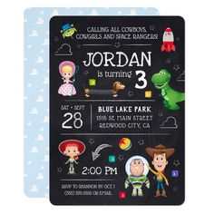 Shop Toy Story Chalkboard Birthday Invitation created by ToyStory. Personalize it with photos & text or purchase as is! Fête Toy Story, Toy Story Theme, Toy Story Birthday, Toy Story Party, Toy Story Invitations, Party Invitations Kids, Invitation Birthday, Invites, Communion Invitations