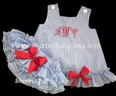 Gingham Check Ruffled Pinafore and Sassy Pants Bloomers Monogram Available