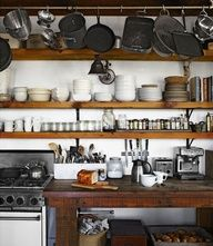 open kitchen, rustic shelves