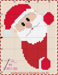 Santa Cross Stitch, Cross Stitch Cards, Cross Stitching, Cross Stitch Embroidery, Cross Stitch Patterns, Crochet Patterns, Cross Stitch Christmas Ornaments, Christmas Embroidery, Christmas Knitting