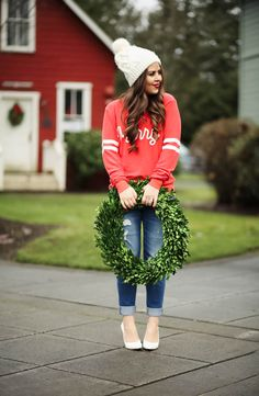 merry. -dress cori lynn. Red graphic sweatshirt+ripped jeans+white pumps+white pom-pom knit beanie. Sport-Chic Outfit 2016