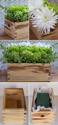 DIY - Flower Arrangement Idea using wooden box, plastic bag and floral foam. Sweet Idea, beautiful look.
