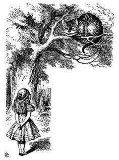 Vintage Ephemera: Book illustration, Cheshire Cat, Alice's Adventures in Wonderland, 1869