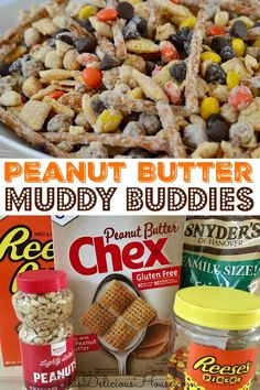 Peanut butter lovers rejoice because there is nothing more satisfying than this recipe for Peanut Butter Muddy Buddies. Think muddy buddies but made just for peanut butter fans. Easy and delicious, you are going to love this tasty treat! Cake Recipes For Kids, Party Recipes, Baking Recipes, Cookie Recipes, Dessert Recipes, Desserts, Peanut Butter Muddy Buddies, Muddy Buddies Recipe, Cool Birthday Cakes