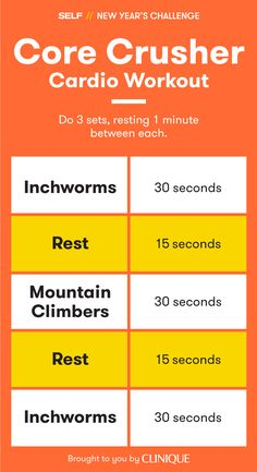 Two exercises, one surprisingly intense sweat session! This cardio workout features inchworms and mountain climbers and will get your heart pumping.