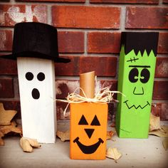 4x4 wood block Halloween decorations. Ghost, pumpkin, and Frankenstein.