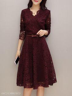 V Neck Lace Skater Dress #dresses #lace #lacedress #skaterdress #afflink #fashion #womensfashion #womenswear #partywear