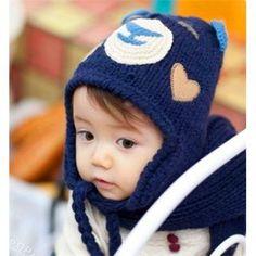 Bear Warm Earflap Baby's Knitting Wool Caps