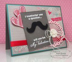 January SOTM Mustache Valentine Card by Joan Ervin #Cardmaking, #StampoftheMonth, #ValentinesLove, http://tayloredexpressions.com/kits.html