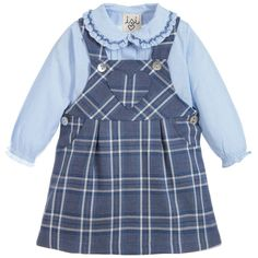 From Malvi & Co's Isi Baby collection comes this adorable two piece outfit for baby girls. Made in soft cotton, the set comprises a pretty blue blouse in the the style of a bodysuit, and a blue tartan dungaree dress. A comfortable and smart ensemble, each piece can also be paired with other items from baby's wardrobe.