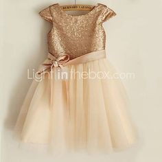 Gold sequin and champagne tulle flower girl dress
